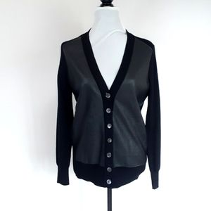 J. Crew Womens 100% Merino Wool and 100% Leather Cardigan Size Small